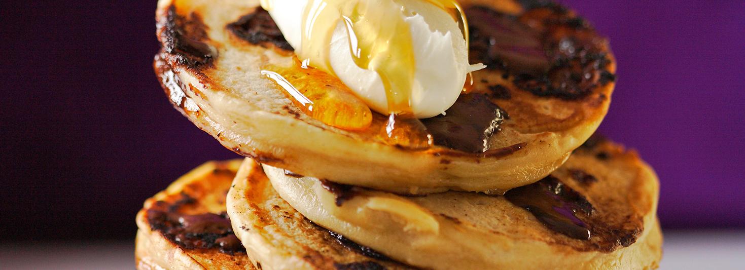 Chocolate pancake recipe made with Monty Bojangles truffles.